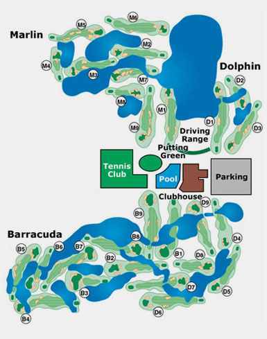 A graphic depicting the course layout for all three courses at Miccosukee Golf & Country Club in Miami